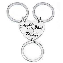 MADHAHEFU Heart Keychain Best Friends Forever Keyring Friendship Gift for Women Men Graduation Gift Birthday Gifts