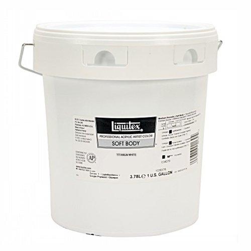 Liquitex 1036432 Professional Soft Body Acrylfarbe, 3,78 Liter Topf, für feine Details, Lasuren, Airbrusharbeiten, Malen auf Textilien, Fresken, titanweiß (Weiß Metallic-spray-farbe)