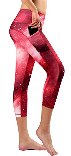 Munvot Schöne Galaxy Printed 3/4 Sport Leggings Sporthose Laufhose Capri Training Tights YH02-86M