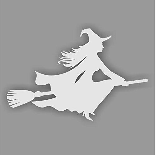 Aufkleber Hexe auf Besen, Farbe: Silber, Art. kfz_270_rechts für Auto, LKW, Motorrad, Roller, Fahrzeuge, Laptops, Notebooks, Sticker, (Kostüme Verzauberte Hexe)