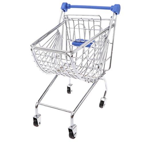 Baoblaze Mini Supermarkt Schubkarre Einkaufswagen Einkaufskorb Gitterwagen Kinderspielzeug - Dunkelblau, # C