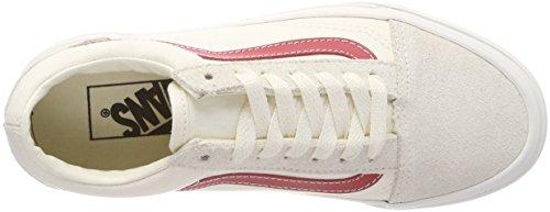 Vans Damen Old Skool Sneakers Elfenbein (Vintage White/rococco Red R1t)