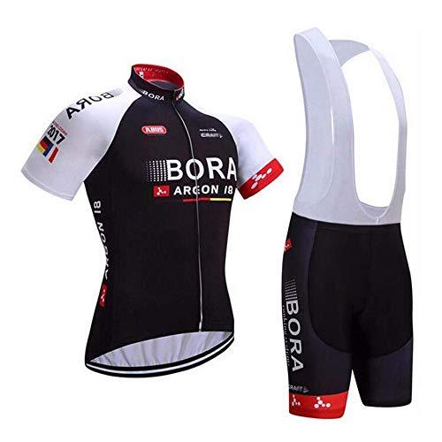 logas Herren Radtrikot Set 3D Gepolsterte Trägerhose Sommer Atmungsaktiv Kurzarm Bike Shirts Fahrradanzug (Trägerhose Rennrad Herren)