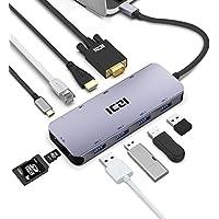 ICZI Hub USB C 10 en 1 de Aluminio, Adaptador USB Tipo C a HDMI 4K / VGA / RJ45 Ethernet /4* USB 3.0 / Lector de Tarjetas SD TF/USB PD Carga Rapida para Dispositivos USB-C Mas Recientes