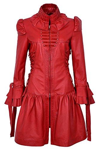 GOTIKA 6273 Red Napa Ladies Punk Rock Music Laced Ribbon Leather Jacket Coat (UK 16 / EU 42)