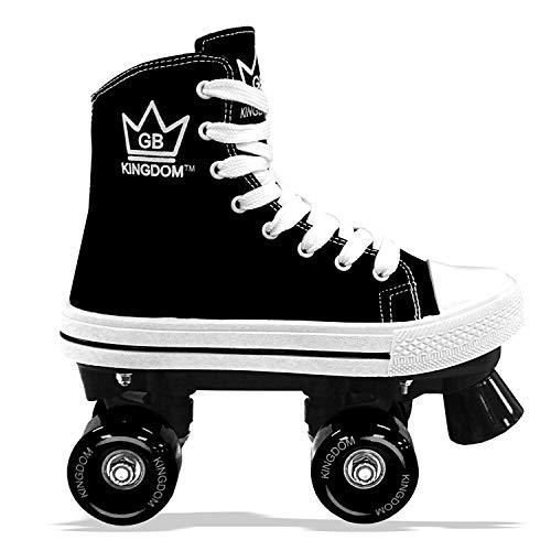Kingdom GB Hi-PE Tela Pattini a rotelle a Quattro Ruote Roller Bambini Ragazze, Nero Taglia 32 EU