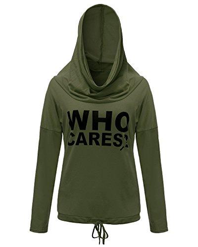 ZANZEA Femmes Casual Lettres Mode Manches Longues à Capuche Pull Shirt Haut Blouse Armée Vert