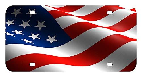 BNHF L147 American Flag License Plate Front Custom Novelty Tag Vanity Frame Holder Wrap Wraps - American Flag License Plate