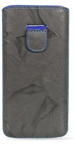 MediaDevil Schutzhülle, europäisches Vollnarbenleder, handgefertigt, Slate with Blue Stitching, HTC One M8 (2014) -