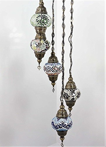 Handmade Turkish Mosaic Ceiling Chandelier Set, 5 Spiral Lantern Globe, Tiffany Moroccan Style Hanging Pendant Lights by TK Bazaar (Amazonite)