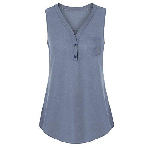 TITIU DamenSommer Lose V-Ausschnitt Cami Tank Solid Tops Weste Bluse T-Shirt Oberteil Tees(Grau,5XL) (Womens T-shirt 07)