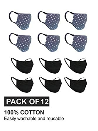 nestroots Cotton Face Mask Pack of 12 Washable Reusable Mask  Soft Earloop/Mouth Nose Cover Men Women Kids Unisex  Cotton Breathable cloth cover Mask (Black & Polka Dot Blue)