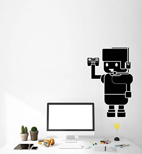 Vinyl wandaufkleber cartoon player mit joystick video spiel aufkleber spielhalle hause niedlichen dekorativen jungen raumdekoration 42 * 64 cm (Video Cartoons)