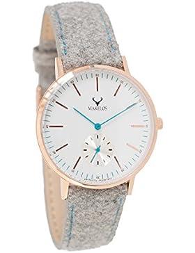 Makelos - Rød Gra - Armbanduhr mit wechselbarem Armband Gehäuse aus poliertem Edelstahl Ø 40 mm - roségold Japanisches...
