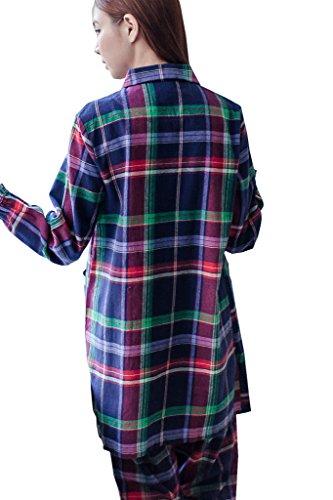 Bearsland dicono le donne che allattano e allattamento, taglia s-Plaid-Set pigiama a maniche lunghe FBULEGREEN