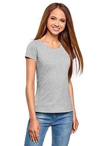 Oodji ultra donna t-shirt basic in cotone (pacco di 2), grigio, it 42 / eu 38 / s