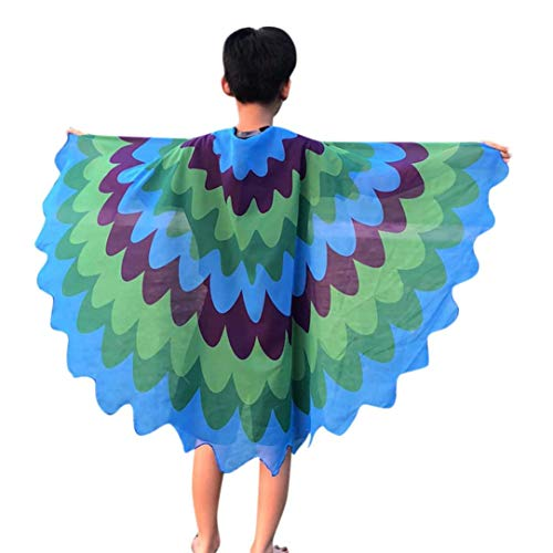 (Quaan Halloween Children Kids Scale Print Wings shawl Scarves poncho Costume Accessory poison cute kostüme vampir dracula mönchskutte umhang schwarz horror kostüm vampir umhang kinder)