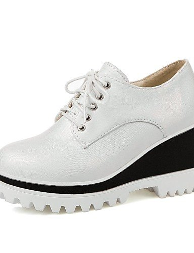 WSS 2016 Chaussures Femme-Extérieure / Bureau & Travail / Habillé-Bleu / Blanc / Amande-Talon Compensé-Compensées / Talons / Creepers / Confort / blue-us10.5 / eu42 / uk8.5 / cn43