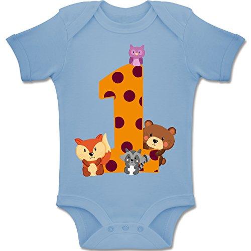 g Baby - 1. Geburtstag Waldtiere - 12-18 Monate - Babyblau - BZ10 - Baby Body Kurzarm Jungen Mädchen ()