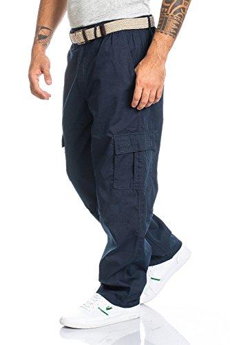 Herren Cargo Hose mit Dehnbund - mehrere Farben ID494, Größe XXL Farbe Blau 1771cc0134