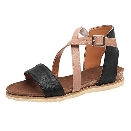 iYmitz Damen Mode Sommer Sandalen Frauen Sandals Flach Sandaletten PU Flache Schuhe Weiches Freizeit(Schwarz,EU-35)