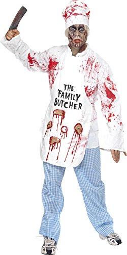 Smiffys, Herren Tödlicher Koch Kostüm, Jacke, Mütze, Schürze und Hose, Größe: M, (Koch Schürze Kostüme)