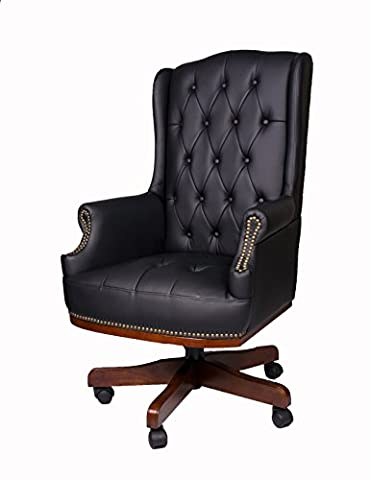 LUXURY MANAGERS DIRECTORS CHESTERFIELD ANTIQUE CAPTAIN STYLE PU LEATHER OFFICE