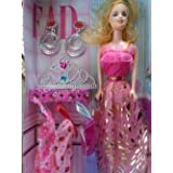 Beautiful Doll Set For Kids With Trendy Dresses, Ear Ring & Crown Like Barbie Doll Set Toy Baby Gift
