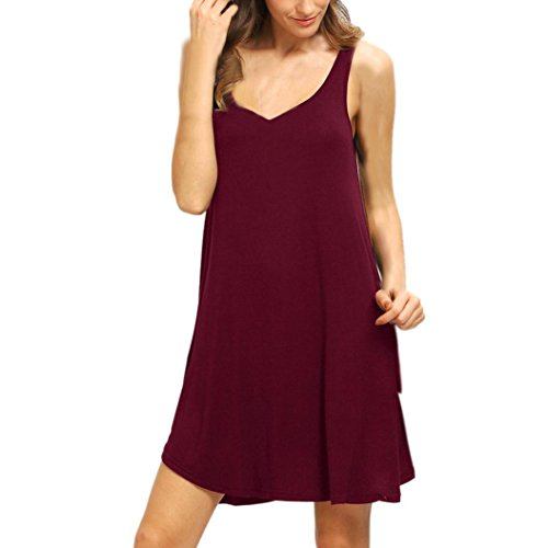 Manadlian-Robes de Plage Femmes sans Manches Courtes Mini Robe Gilet Summer Beach Long Tops T-Shirt vin rouge