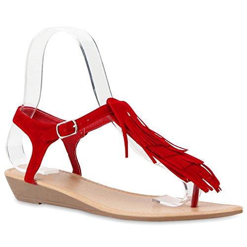 Damen Dianetten Fransen Sandalen Lederoptik Trendschuhe Rot
