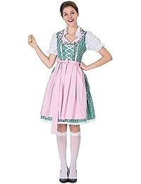 Qmber Damen Midi Trachtenkleid für Oktoberfest SchürzeKostüm Drindl Tavern Maid Dress