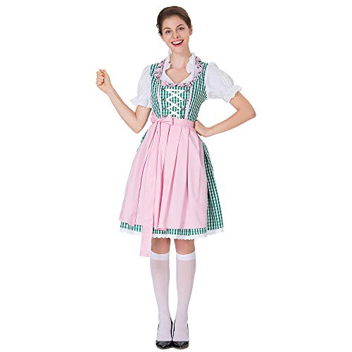 für Damen karnevalskostüme Bierfest Zofe Abendkleid Bayerisches Biermädchen Drindl Taverne Bar Maid Dress Traditionelles Midikleid Karneval Kostüm ZHANSANFM (L, Rosa) ()