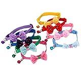 Fully 3er/Set Kleintiere Hunde Halsband Schleife Fliege Hundeschleife Krawatte mit Glocken (Halsumfang: 19-32cm/7.48-12.59