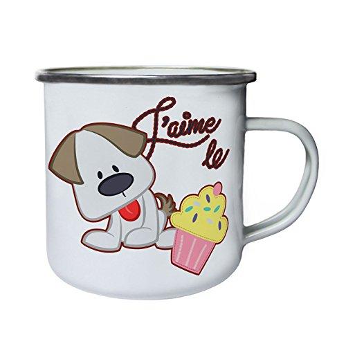 J'Aime le Cupcakes I Love Cakes lindo perro Retro, lata, taza del...