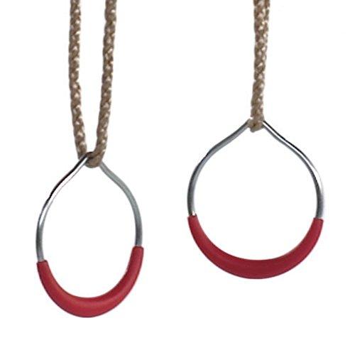 WICKEY Metallringe Turnringe Gymnastikringe mit roten Kunststoffgriffen, ca. Ø15cm