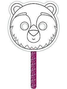 Avenue Mandarine - Juego para Pintar su Propia máscara, diseño de Oso (Negro/Blanco)