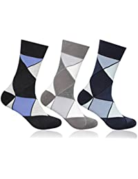 Supersox Men's Pack of 3 Regular Combed Cotton Argyle Socks