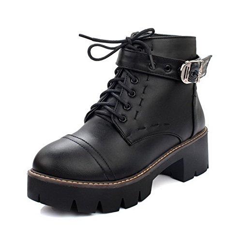 VogueZone009 Donna Puro Luccichio Tacco Medio Allacciare Stivali Nero