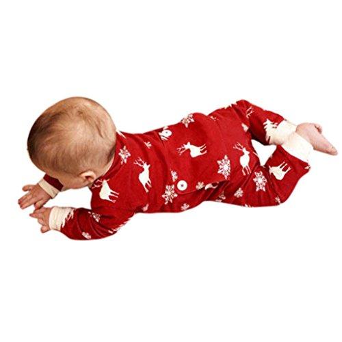 OVERDOSE Neugeborenes Baby Mädchen Jungen Weihnachten Hirsch Druck Strampler Langarm Overall Pyjamas Outfits Weihnachtskostüm(6 Monate,A-Rot)