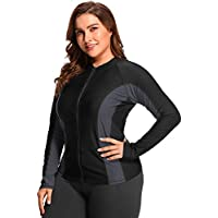 Vegatos Women Plus Size Zipper Rash Guard Long Sleeve UV Swim Shirt Athletic Top Black/Gray