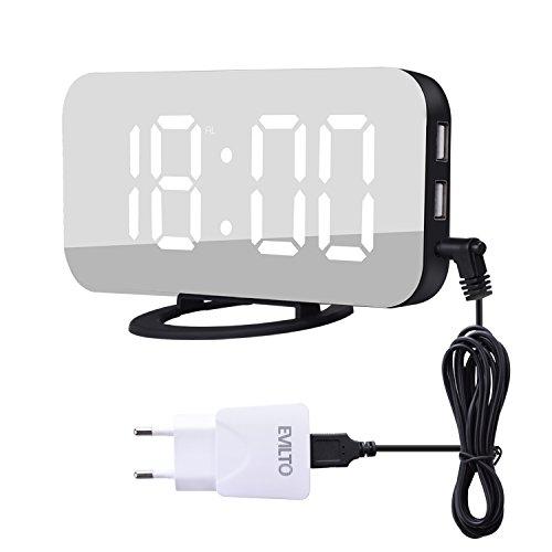 Digitaler Wecker, EVILTO LED Spiegel Wecker Digital mit 3-Stufen Helligkeit Dimmbar Alarm Wecker mit Groß Bildschirm 12/24H Anzeige USB Anschluss für Smartphone