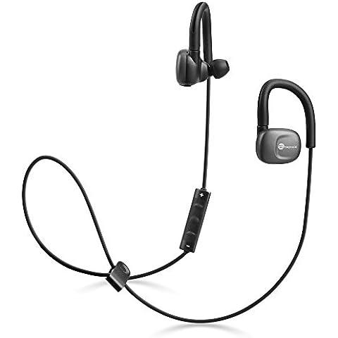 TaoTronics Auriculares Bluetooth estéreos inalámbricos, aptX Bluetooth 4.1, CVC6.0, IPX5, ideal para hacer deporte, resistentes al sudor y lavables, control en línea, entrada de microfono, Color Negro