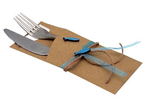 ZauberDeko Serviettentasche Isaak Natur Fisch Petrol Blau Kommunion Konfirmation Bestecktasche Vintage Tischdeko