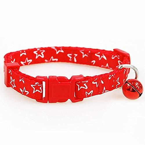 XIAOLANGTIAN Nylon Kleine Hundehalsbänder Reflektierende/Dot/Star Style 2 Größen Hund Welpen Katze Haustier Halskette Kragen, Stern Rot, Xs