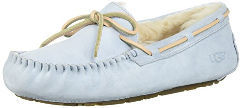 Ugg Women's Dakota Leather White/SkyBlue Ankle-High Suede Slipper - 10M (Boot Blue Suede)