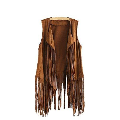 iHENGH Damen Herbst Winter Bequem Mantel Lässig Mode Jacke Frauen Herbst Winter Wildleder Ethnische ärmellose Quasten Fransen Weste Cardigan (3XL, Khaki)