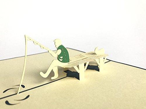 Fisherman Geburtstag Thema handgefertigt Birthday Greetings Cards Kirigami Origami Papier 3D Pop up Karten Postkarten