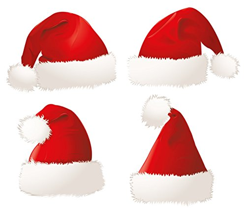 Christmas Party Accessories -Santa Cap (Pack of 5) Deluxe Soft Cloth Santa Hats