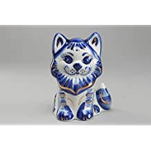 Figura de porcelana con pintura de Gzhel Gato
