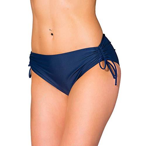 Aquarti Damen Bikinihose mit Raffung und Schnüren, Farbe: Dunkelblau, Größe: 42